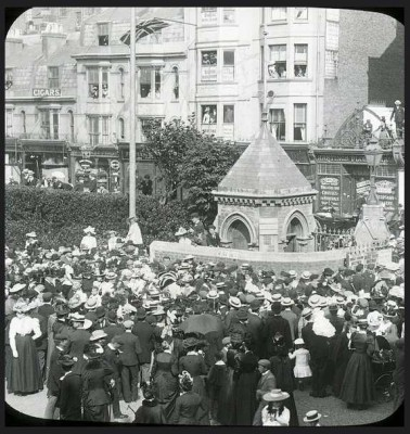 Crowds at the Turret, entrance to Central Cricket Ground, Hastings c.1910 (Magic lantern Slide).jpg